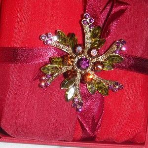Purple, Amber & Green Pinwheel Rhinestone Brooch